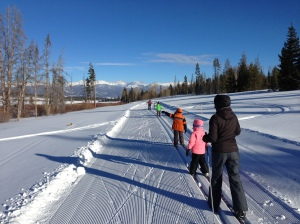Chasing the family on the skinny skis.